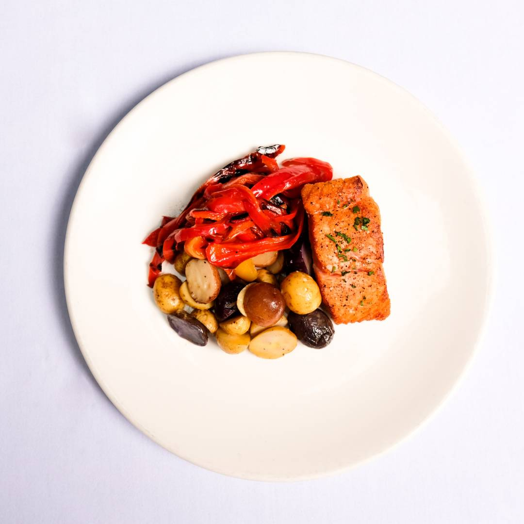 Salmon, Potatoes & Red Bell Peppers